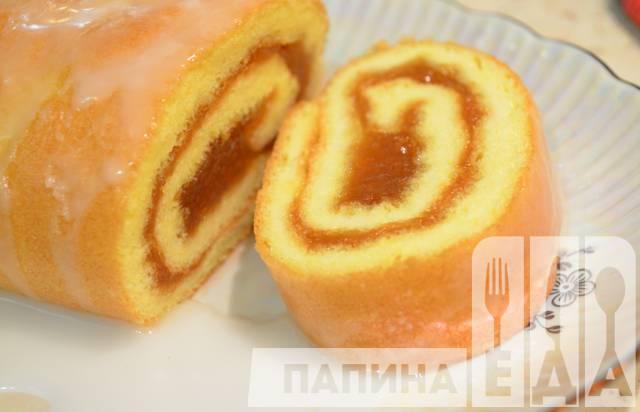 рулет фруктовый бисквитный рецепт