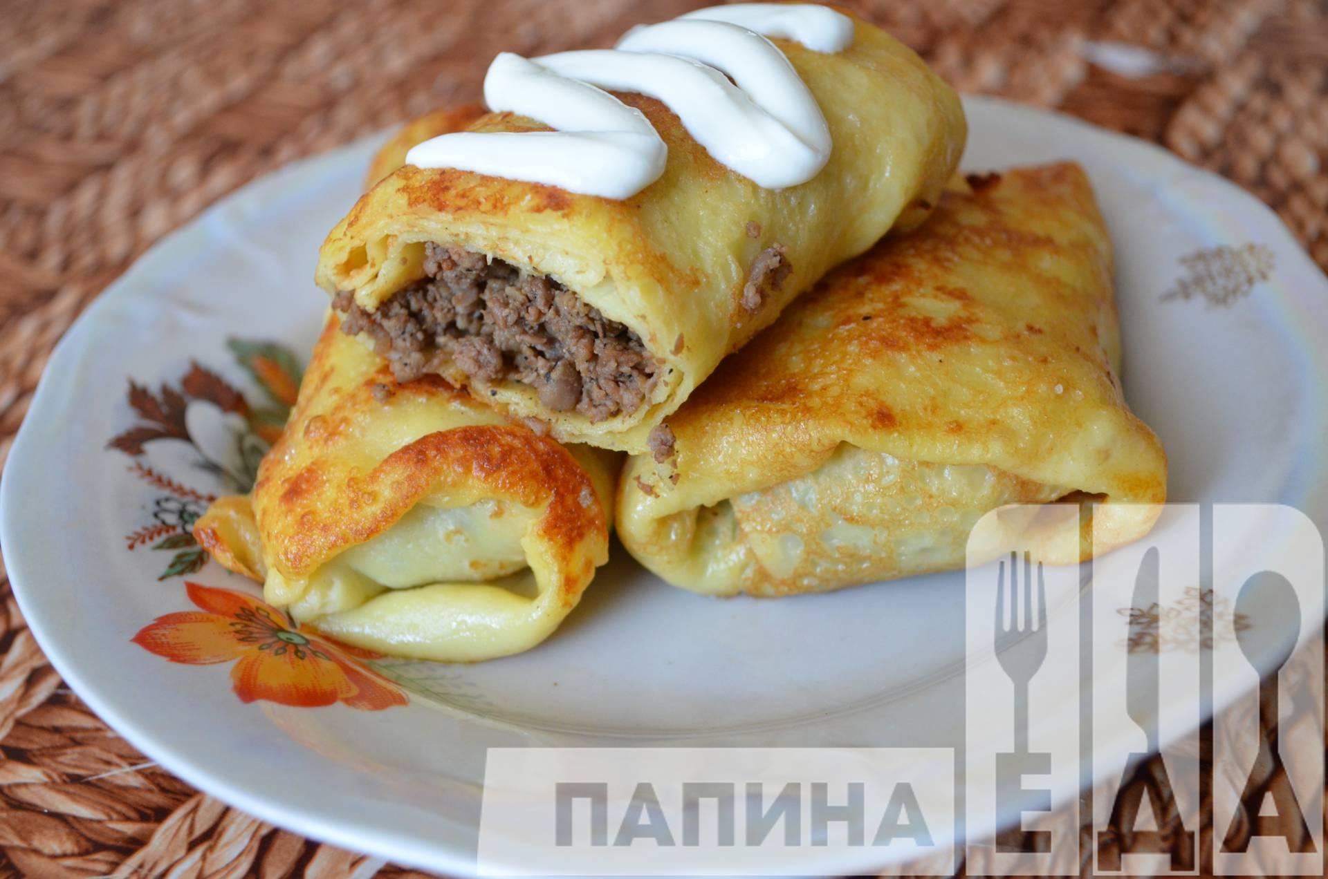 Вкусные блинчики с мясом рецепт пошагово