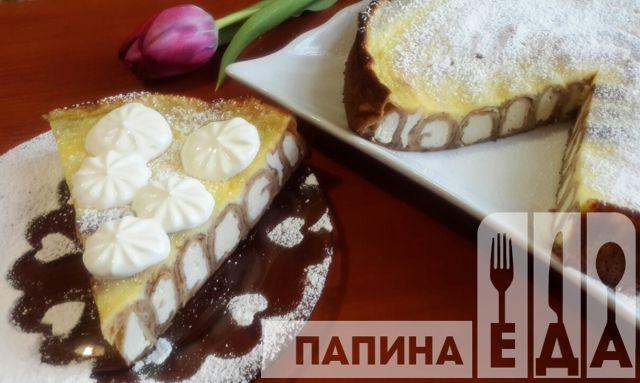 """Блинный пирог с творогом """"Улитка"""""""