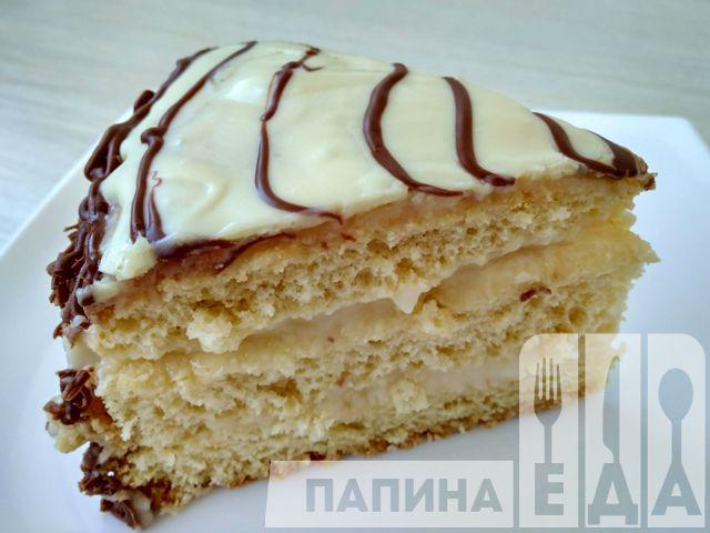 Бисквитный торт с заварным кремом