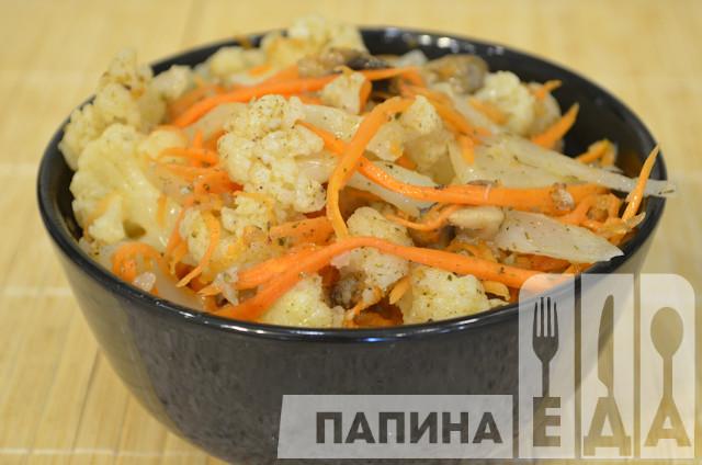Цветная капуста по-корейски с морковью