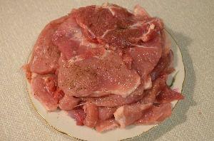 Для удобства можно сложить подготовленное мясо горкой на блюдо и отставить в сторону.